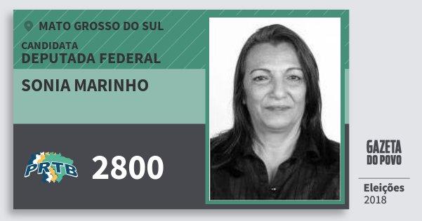 Santinho Sonia Marinho 2800 (PRTB) Deputada Federal | Mato Grosso do Sul | Eleições 2018
