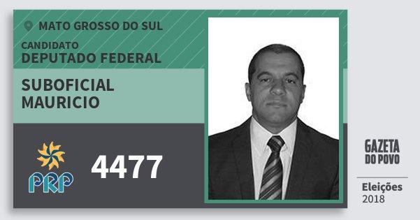 Santinho Suboficial Mauricio 4477 (PRP) Deputado Federal | Mato Grosso do Sul | Eleições 2018