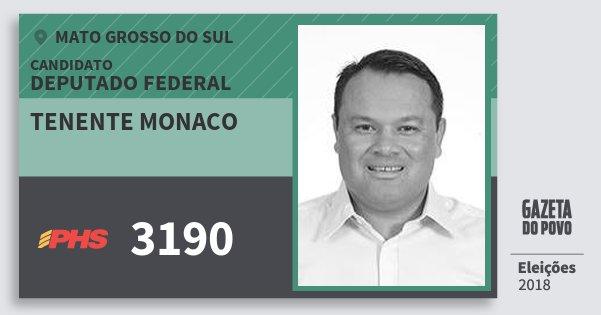 Santinho Tenente Monaco 3190 (PHS) Deputado Federal | Mato Grosso do Sul | Eleições 2018