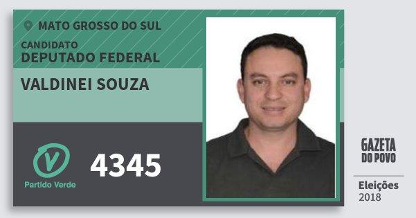 Santinho Valdinei Souza 4345 (PV) Deputado Federal | Mato Grosso do Sul | Eleições 2018