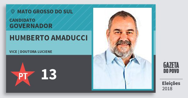 Santinho Humberto Amaducci 13 (PT) Governador | Mato Grosso do Sul | Eleições 2018