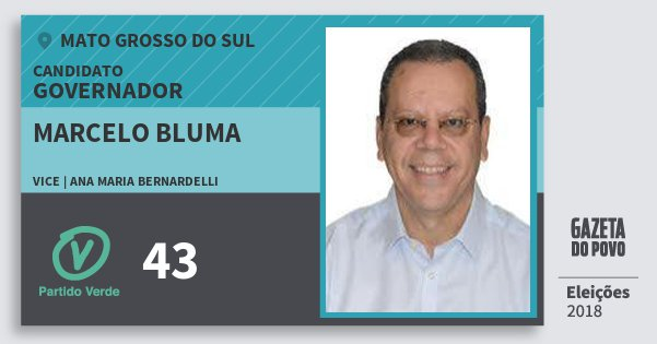 Santinho Marcelo Bluma 43 (PV) Governador | Mato Grosso do Sul | Eleições 2018