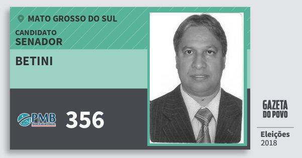 Santinho Betini 356 (PMB) Senador | Mato Grosso do Sul | Eleições 2018