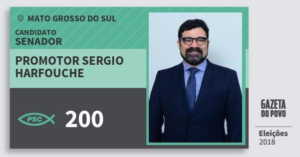 Santinho Promotor Sergio Harfouche 200 (PSC) Senador | Mato Grosso do Sul | Eleições 2018