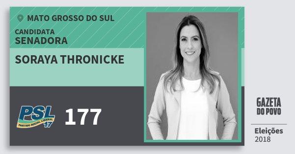 Santinho Soraya Thronicke 177 (PSL) Senadora | Mato Grosso do Sul | Eleições 2018