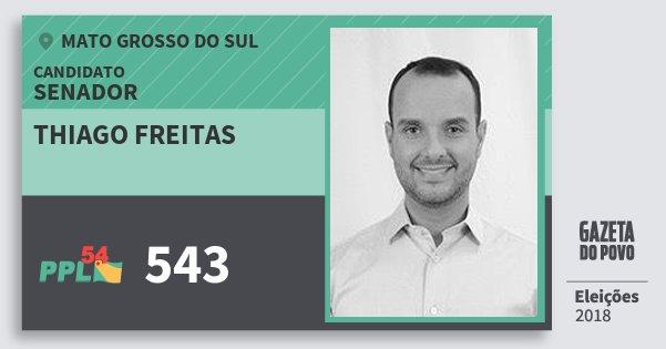 Santinho Thiago Freitas 543 (PPL) Senador | Mato Grosso do Sul | Eleições 2018