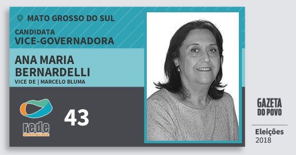 Santinho Ana Maria Bernardelli 43 (REDE) Vice-Governadora | Mato Grosso do Sul | Eleições 2018