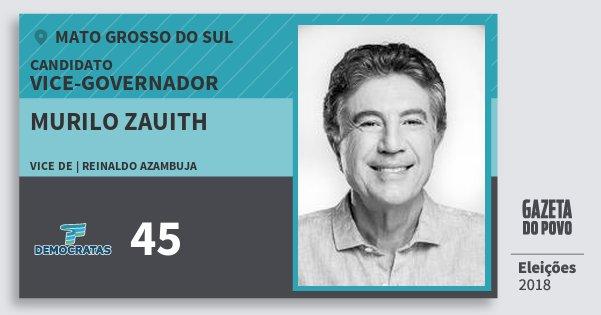 Santinho Murilo Zauith 45 (DEM) Vice-governador | Mato Grosso do Sul | Eleições 2018