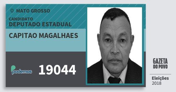 Santinho Capitao Magalhaes 19044 (PODE) Deputado Estadual | Mato Grosso | Eleições 2018