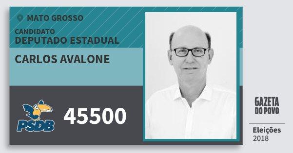 Santinho Carlos Avalone 45500 (PSDB) Deputado Estadual | Mato Grosso | Eleições 2018