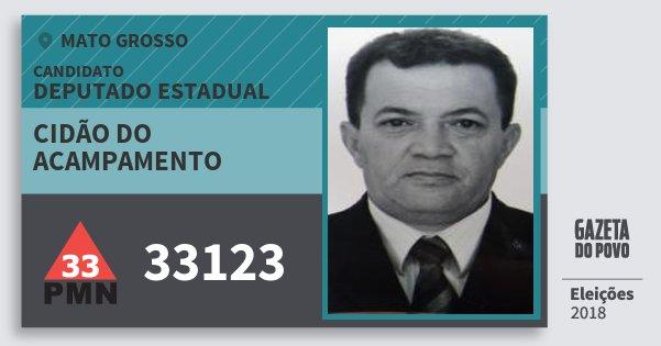 Santinho Cidão do Acampamento 33123 (PMN) Deputado Estadual | Mato Grosso | Eleições 2018