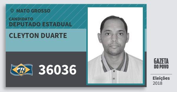Santinho Cleyton Duarte 36036 (PTC) Deputado Estadual | Mato Grosso | Eleições 2018