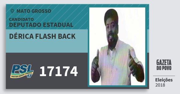 Santinho Dérica Flash Back 17174 (PSL) Deputado Estadual | Mato Grosso | Eleições 2018