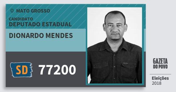 Santinho Dionardo Mendes 77200 (SOLIDARIEDADE) Deputado Estadual | Mato Grosso | Eleições 2018