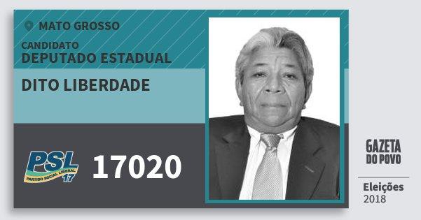 Santinho Dito Liberdade 17020 (PSL) Deputado Estadual   Mato Grosso   Eleições 2018
