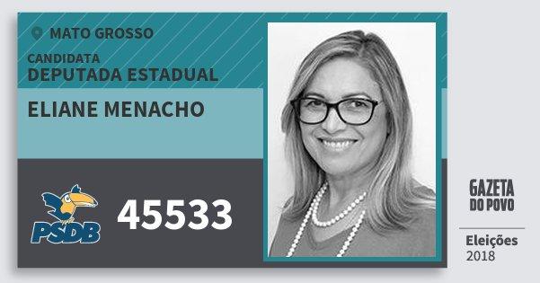 Santinho Eliane Menacho 45533 (PSDB) Deputada Estadual | Mato Grosso | Eleições 2018