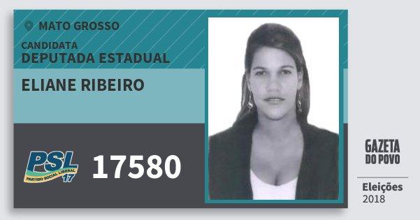 Santinho Eliane Ribeiro 17580 (PSL) Deputada Estadual   Mato Grosso   Eleições 2018