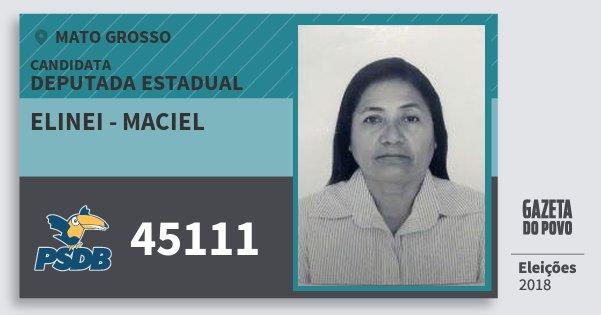 Santinho Elinei - Maciel 45111 (PSDB) Deputada Estadual | Mato Grosso | Eleições 2018