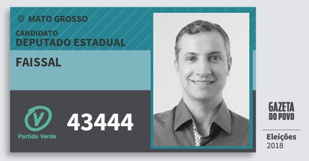 Santinho Faissal 43444 (PV) Deputado Estadual | Mato Grosso | Eleições 2018
