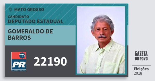 Santinho Gomeraldo de Barros 22190 (PR) Deputado Estadual | Mato Grosso | Eleições 2018