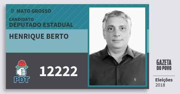 Santinho Henrique Berto 12222 (PDT) Deputado Estadual | Mato Grosso | Eleições 2018