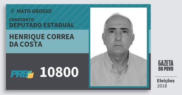 Santinho Henrique Correa da Costa 10800 (PRB) Deputado Estadual | Mato Grosso | Eleições 2018