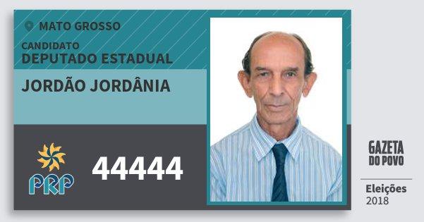 Santinho Jordão Jordânia 44444 (PRP) Deputado Estadual | Mato Grosso | Eleições 2018