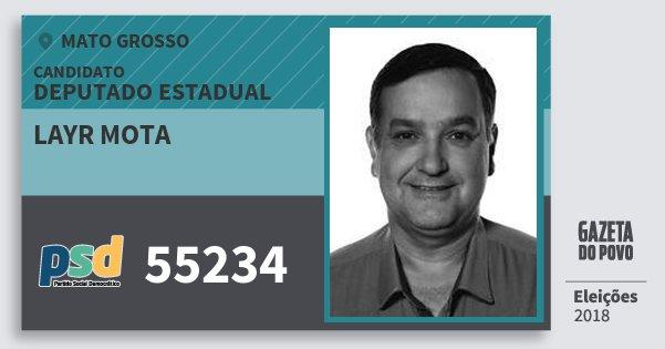 Santinho Layr Mota 55234 (PSD) Deputado Estadual | Mato Grosso | Eleições 2018