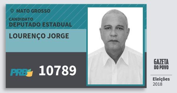 Santinho Lourenço Jorge 10789 (PRB) Deputado Estadual | Mato Grosso | Eleições 2018