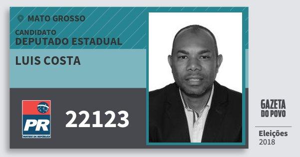 Santinho Luis Costa 22123 (PR) Deputado Estadual | Mato Grosso | Eleições 2018
