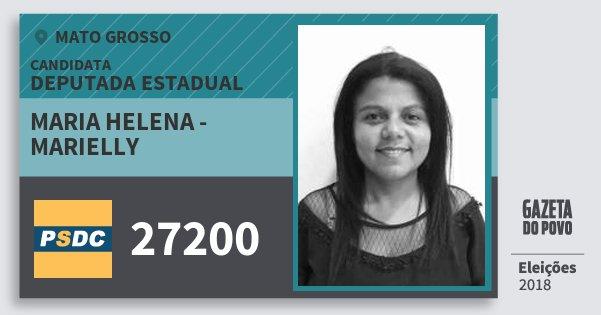 Santinho Maria Helena - Marielly 27200 (DC) Deputada Estadual | Mato Grosso | Eleições 2018