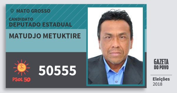 Santinho Matudjo Metuktire 50555 (PSOL) Deputado Estadual | Mato Grosso | Eleições 2018