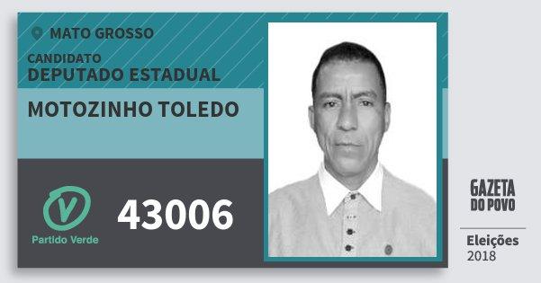 Santinho Motozinho Toledo 43006 (PV) Deputado Estadual | Mato Grosso | Eleições 2018