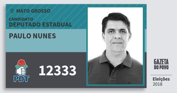 Santinho Paulo Nunes 12333 (PDT) Deputado Estadual | Mato Grosso | Eleições 2018