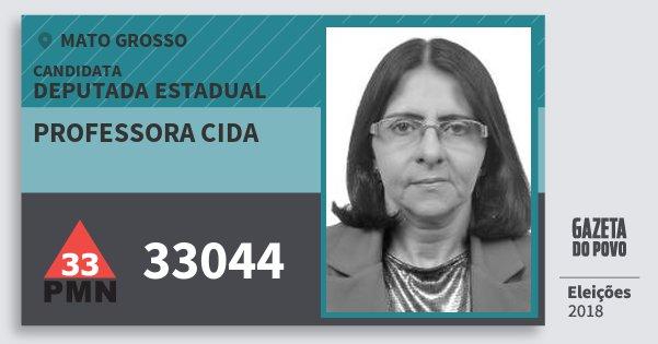 Santinho Professora Cida 33044 (PMN) Deputada Estadual | Mato Grosso | Eleições 2018