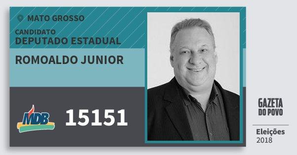 Santinho Romoaldo Junior 15151 (MDB) Deputado Estadual | Mato Grosso | Eleições 2018