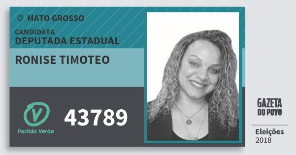Santinho Ronise Timoteo 43789 (PV) Deputada Estadual | Mato Grosso | Eleições 2018
