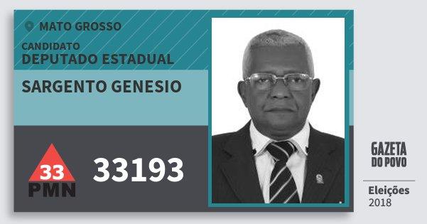 Santinho Sargento Genesio 33193 (PMN) Deputado Estadual | Mato Grosso | Eleições 2018
