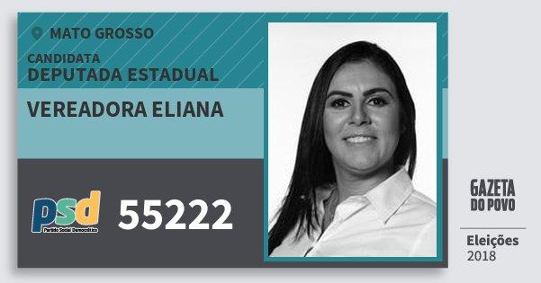 Santinho Vereadora Eliana 55222 (PSD) Deputada Estadual | Mato Grosso | Eleições 2018