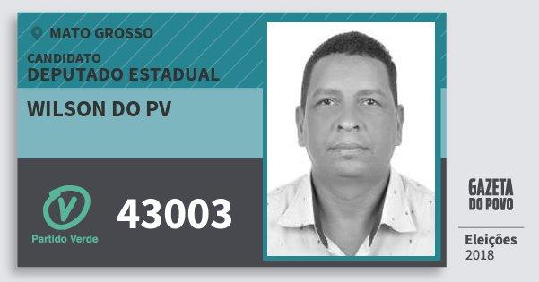 Santinho Wilson do Pv 43003 (PV) Deputado Estadual   Mato Grosso   Eleições 2018