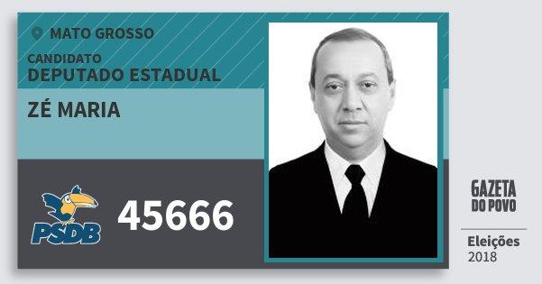 Santinho Zé Maria 45666 (PSDB) Deputado Estadual | Mato Grosso | Eleições 2018