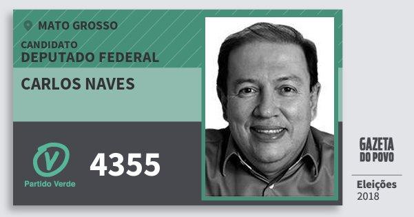 Santinho Carlos Naves 4355 (PV) Deputado Federal | Mato Grosso | Eleições 2018