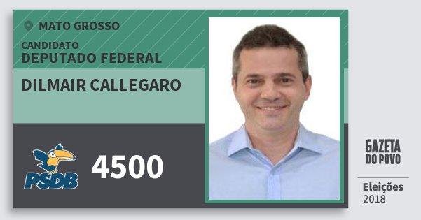 Santinho Dilmair Callegaro 4500 (PSDB) Deputado Federal | Mato Grosso | Eleições 2018