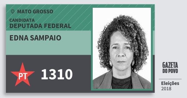 Santinho Edna Sampaio 1310 (PT) Deputada Federal | Mato Grosso | Eleições 2018