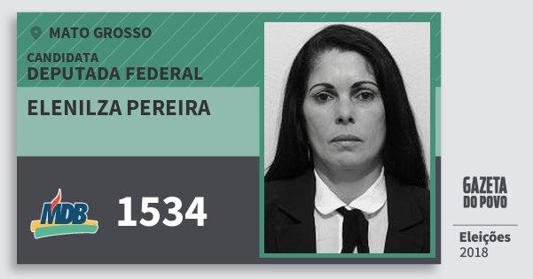 Santinho Elenilza Pereira 1534 (MDB) Deputada Federal | Mato Grosso | Eleições 2018