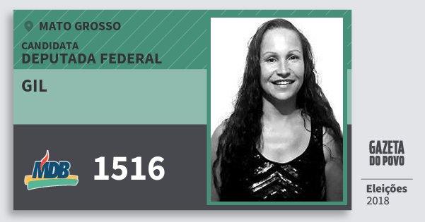 Santinho Gil 1516 (MDB) Deputada Federal | Mato Grosso | Eleições 2018