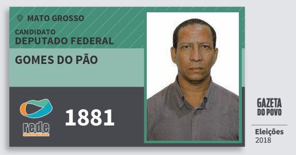 Santinho Gomes do Pão 1881 (REDE) Deputado Federal | Mato Grosso | Eleições 2018