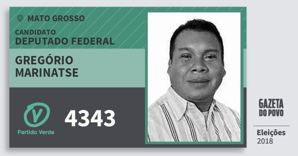 Santinho Gregório Marinatse 4343 (PV) Deputado Federal | Mato Grosso | Eleições 2018