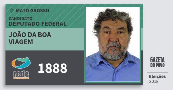 Santinho João da Boa Viagem 1888 (REDE) Deputado Federal | Mato Grosso | Eleições 2018