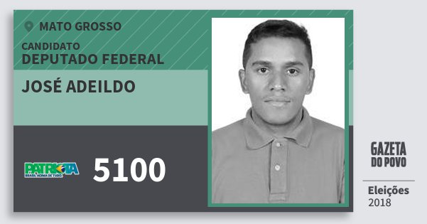 Santinho José Adeildo 5100 (PATRI) Deputado Federal | Mato Grosso | Eleições 2018